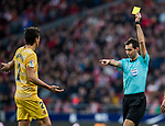 Bernardo Jose Espinosa Zuniga of Girona FC reacts as referee Ricardo de Burgos Bengoechea shows him the yellow card during the La Liga 2017-18 match between Atletico de Madrid and Girona FC at Wanda Metropolitano on 20 January 2018 in Madrid, Spain. Photo by Diego Gonzalez / Power Sport Images