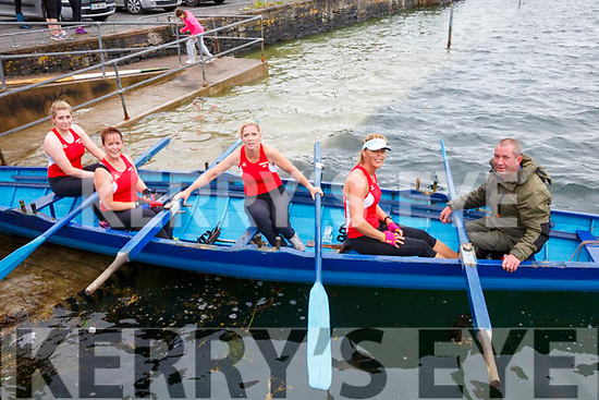 The Sneem Senior Ladies crew in first place at the Cahersiveen Regatta on Sunday pictured l-r; Lea Turner, Fiona O'Shea, Caroline Clifford, Geraldine Breen & Cox Mike O'Shea.  Valentia took 2nd and Callinafercy 3rd.