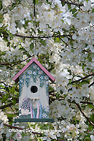 01715-03012 Bird nestbox in blooming Sugartyme Crabapple Tree (Malus sp.) Marion Co., IL