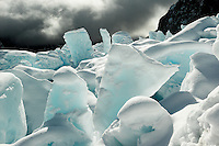 Spectacular winter scenery with ice blocks on Franz Josef Glacier, Westland Tai Poutini National Park, UNESCO World Heritage Area, West Coast, New Zealand, NZ