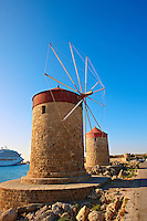 Windmills and walls of Rhodes, Greece. UNESCO World Heritage Site