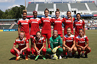 Cary, North Carolina  - Saturday August 19, 2017: Washington Spirit starters. Front row (from left): Tori Huster, Estefania Banini, Stephanie Labbe, Meggie Dougherty Howard, Mallory Pugh; Back row (from left): Estelle Johnson, Cheyna Williams, Havana Solaun, Kassey Kallman, Shelina Zadorsky, and Caprice Dydasco prior to a regular season National Women's Soccer League (NWSL) match between the North Carolina Courage and the Washington Spirit at Sahlen's Stadium at WakeMed Soccer Park. North Carolina won the game 2-0.