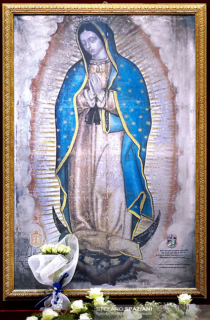 Our Lady of Guadalupe.Pope Francis uses incense to venerate an image of Our Lady of Guadalupe during Mass marking the feast of Our Lady of Guadalupe in St. Peter's Basilica at the Vatican 12.december 2016