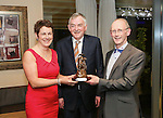 Pictured at the Limerick Sports Partnership Sports Awards were: Winner Humphrey Doody presenter by Neasa Fahy O Donnell &amp; UL President Don Barry<br /> Picture  Credit Brian Gavin Press 22