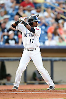 Lake County Captains outfielder Dorssys Paulino (17) at bat during a game against the Fort Wayne TinCaps on August 21, 2014 at Classic Park in Eastlake, Ohio.  Lake County defeated Fort Wayne 7-8.  (Mike Janes/Four Seam Images)