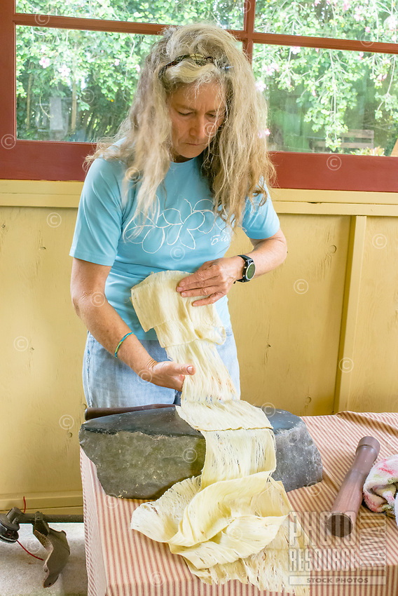 Kapa making on the Big Island: Ava works with wauke beaten from a tall tree, making long lengths of kapa.