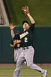 June 18, 2010       Oakland Athletics shortstop Cliff Pennington (2) makes a catch late in the game.  The St. Louis Cardinals defeated the Oakland Athletics 6-4 in the first game of a three-game homestand at Busch Stadium in downtown St. Louis, MO on Friday June 18, 2010.