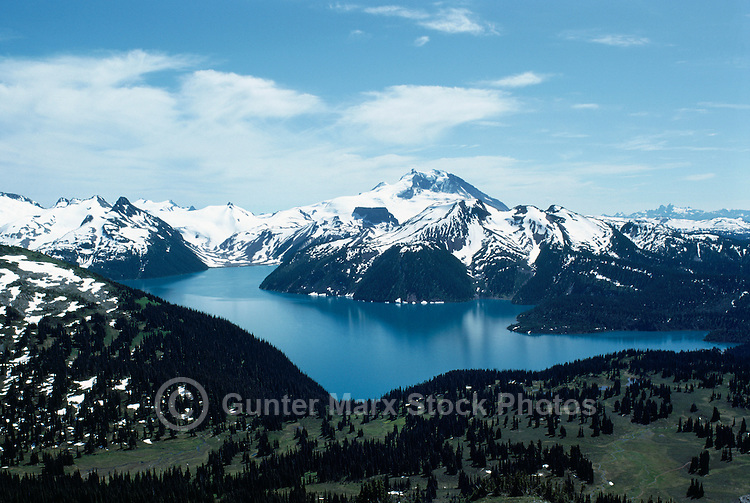 Garibaldi Lake, Garibaldi Provincial Park, near Whistler, BC, British Columbia, Canada - Aerial View of Coast Mountains