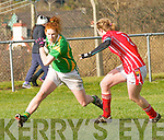 Kerry Louise Ní Mhuirtceartaigh in possession of the ball closely watched by Cork Roisin Phelan during the NFL Div. 1 match at Pairc an Aghasaigh, Dingle, on Sunday afternoon.