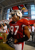 Oct. 16, 2006; Glendale, AZ, USA; Arizona Cardinals linebacker (97) Calvin Pace against the Chicago Bears at University of Phoenix Stadium in Glendale, AZ. Mandatory Credit: Mark J. Rebilas