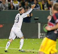 CARSON, CA - November 3, 2011: LA Galaxy midfielder David Beckham (23) during the match between LA Galaxy and NY Red Bulls at the Home Depot Center in Carson, California. Final score LA Galaxy 2, NY Red Bulls 1.