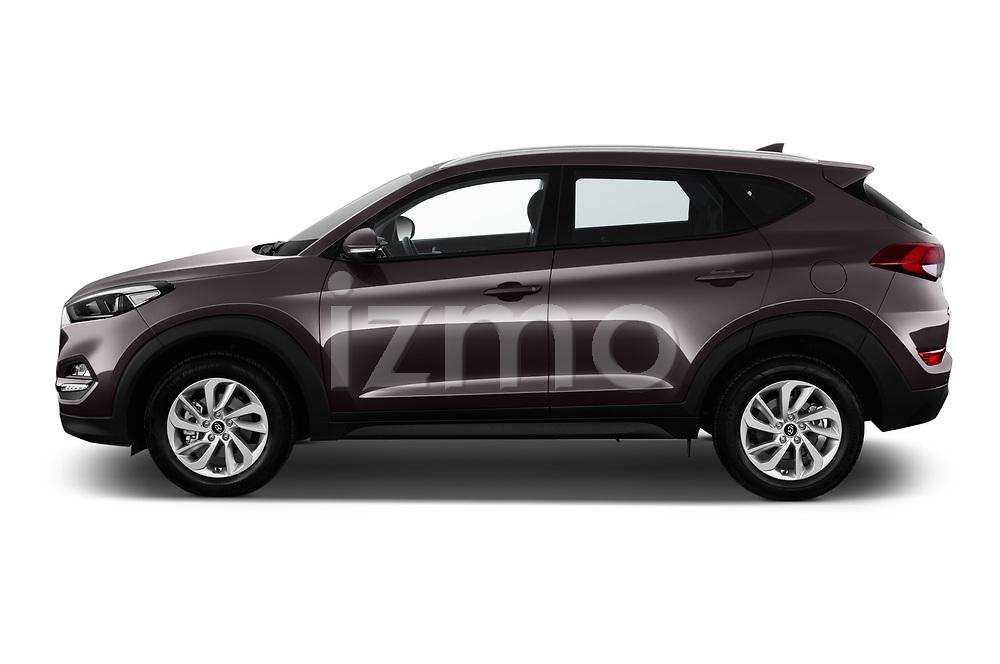 Car driver side profile view of a 2018 Hyundai Tucson Premium 5 Door SUV