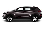 Car driver side profile view of a 2018 Hyundai Tucson Premium 5 Door SUV