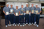 April 15, 2015; Ventura, CA, USA; Pepperdine Waves men's golf team poses with the championship trophy during the WCC Golf Championships at Saticoy Country Club.