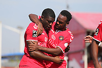 Josh Umerah of Ebbsfleet United is congratulated after scoring the first Fleet goal during Ebbsfleet United vs Notts County, Vanarama National League Football at The Kuflink Stadium on 24th August 2019