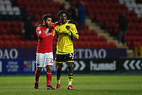 Jay DaSilva of Charlton Athletic, on loan from Chelsea, walks off the pitch at the end of the match with Oxford United's Isaac Buckley-Rickets, who is on loan from Manchester City during Charlton Athletic vs Oxford United, Sky Bet EFL League 1 Football at The Valley on 3rd February 2018