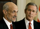United States President George W. Bush, right, today announced his intention to nominate Michael Chertoff, left, of New Jersey, to be Secretary of Homeland Security.  He currently serves as a United States Circuit Judge for the Third Circuit Court of Appeals.  Judge Chertoff previously served as Assistant Attorney General for the Criminal Division at the Department of Justice.  As Assistant Attorney General, he helped trace the terrorist attacks to the al-Qaida network after September 11 and increased information sharing within the Federal Bureau of Investigation (FBI). Prior to joining the Bush Administration, Judge Chertoff was a Partner in law firm of Latham & Watkins.  From 1994 to 1996, he served as Special Counsel for the United States Senate Whitewater Committee.  In 1990, Judge Chertoff was appointed by United States President George H. W. Bush to be United States Attorney for the District of New Jersey.  He began his career in public service in 1983, in the United States Attorney's Office for the Southern District of New York.  Judge Chertoff received his bachelor's degree from Harvard University and his Juris Doctorate (J.D.) from Harvard Law School.<br /> Credit: Mark Wilson / Pool via CNP