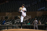 Salt River Rafters relief pitcher Chad Smith (27), of the Miami Marlins organization, delivers a pitch during an Arizona Fall League game against the Scottsdale Scorpions at Salt River Fields at Talking Stick on October 11, 2018 in Scottsdale, Arizona. Salt River defeated Scottsdale 7-6. (Zachary Lucy/Four Seam Images)