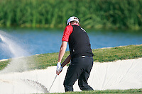 Peter Hanson (SWE) chips out of a bunker at the 16th green during Saturday's Round 3 of the Bankia Madrid Masters at El Encin Golf Hotel, Madrid, Spain, 8th October 2011 (Photo Eoin Clarke/www.golffile.ie)
