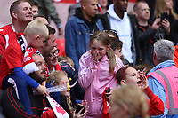 Salford City fan crys out of happiness after the AFC Fylde vs Salford City, Vanarama National League Play-Off Final Football at Wembley Stadium on 11th May 2019