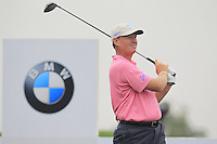 Ernie Els (RSA) tees off the 2nd tee during Thursday's Round 1 of the 2014 BMW Masters held at Lake Malaren, Shanghai, China 30th October 2014.<br /> Picture: Eoin Clarke www.golffile.ie