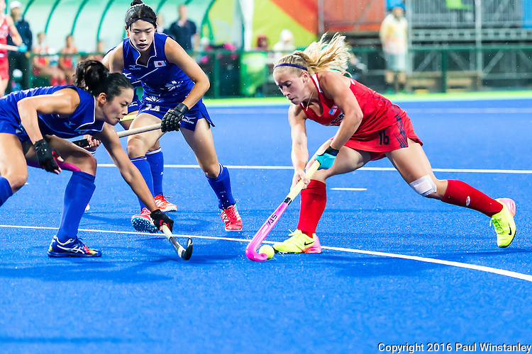 Katie Bam #16 of United States enters the circle during USA vs Japan in a Pool B game at the Rio 2016 Olympics at the Olympic Hockey Centre in Rio de Janeiro, Brazil.