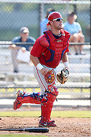 Philadelphia Phillies minor league catcher Cameron Rupp vs. the Toronto Blue Jays in an Instructional League game at the Carpenter Complex in Clearwater, Florida;  October 9, 2010.  Photo By Mike Janes/Four Seam Images