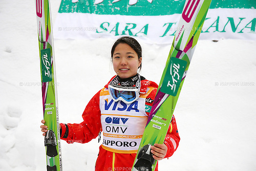 Sara Takanashi (JPN), JANUARY 11, 2014 - Ski Jumping : Sara Takanashi of Japan celebrates her winning of the FIS Ski Jumping World Cup Women's HS100 at Miyanomori, Sapporo, Japan. Takanashi record 14th winning of her career. (Photo by AFLO SPORT)