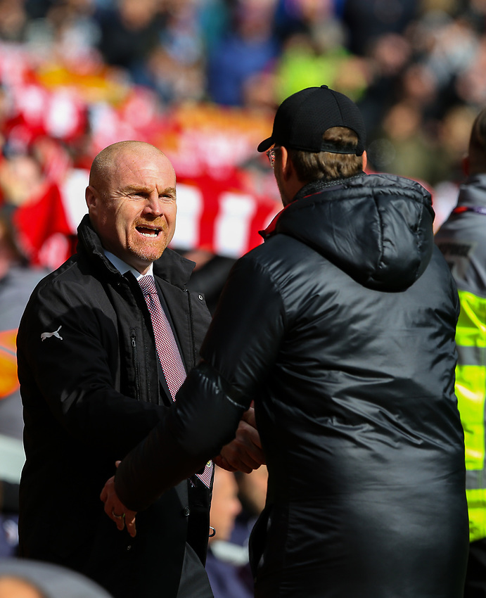 Burnley manager Sean Dyche is greeted by Liverpool manager Jürgen Klopp<br /> <br /> Photographer Alex Dodd/CameraSport<br /> <br /> The Premier League - Liverpool v Burnley - Sunday 10th March 2019 - Anfield - Liverpool<br /> <br /> World Copyright © 2019 CameraSport. All rights reserved. 43 Linden Ave. Countesthorpe. Leicester. England. LE8 5PG - Tel: +44 (0) 116 277 4147 - admin@camerasport.com - www.camerasport.com