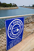 No Dumping sign, Los Cerritos Channel, Long Beach, California, USA