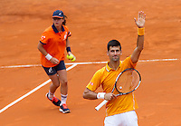 Il serbo Novak Djokovic esulta dopo aver battuto lo spagnolo David Ferrer in semifinale durante gli Internazionali d'Italia di tennis a Roma, 16 maggio 2015. <br /> Serbia's Novak Djokovic celebrates after beating Spain's David Ferrer during their semifinal match at the Italian Open tennis tournament in Rome, 15 May 2015.<br /> UPDATE IMAGES PRESS/Riccardo De Luca