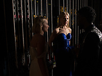 Margot Robbie, Nicole Kidman and Chadwick Boseman chat backstage during the live ABC Telecast of The 90th Oscars&reg; at the Dolby&reg; Theatre in Hollywood, CA on Sunday, March 4, 2018.<br /> *Editorial Use Only*<br /> CAP/PLF/AMPAS<br /> Supplied by Capital Pictures