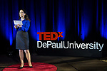 """Jeanne Williams, emcee of the event, welcomes guests to TEDxDePaulUniversity Tuesday, April 18, 2017, in the Lincoln Park Student Center. TEDxDePaulUniversity is an independently run, self-organized event. Through the theme """"Courage to Connect"""" 10 speakers from across the DePaul community challenged thoughts and inspired ideas through a series of engaging talks and presentations. (DePaul University/Jeff Carrion)"""