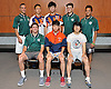 The Newsday All-Long Island boys badminton team poses for a group photo at company headquarters on Wednesday, June 15, 2016. Appearing are, FRONT ROW, FROM LEFT: Will Flohr of Lindenhurst, Anson Cheung of Great Neck North (Player of the Year) and Aiden Lee of Half Hollow Hills. BACK ROW, FROM LEFT: Coach Gustave Karagrozis of Lindenhurst, Harry Ren of Great Neck South, Ernest Fok of Great Neck South, Jerry Matcovsky of Lindenhurst and Shaurya Patel of Lindenhurst.