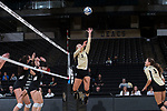 Bailey Shurbet (3) of the Wake Forest Demon Deacons attacks the ball during the match against the USC Upstate Spartans in the LJVM Coliseum on September 9, 2017 in Winston-Salem, North Carolina.  The Demon Deacons defeated the Spartans 3-2.   (Brian Westerholt/Sports On Film)