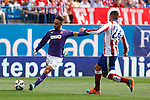 Atletico de Madrid´s Gimenez (R) and Espanyol´s Garcia during 2014-15 La Liga Atletico de Madrid V Espanyol match at Vicente Calderon stadium in Madrid, Spain. October 19, 2014. (ALTERPHOTOS/Victor Blanco)