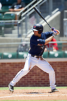 Second baseman Alex Yarbrough #2 of the Ole Miss Rebels at bat during the NCAA Regional baseball game against the Texas Christian University Horned Frogs on June 1, 2012 at Blue Bell Park in College Station, Texas. Ole Miss defeated TCU 6-2. (Andrew Woolley/Four Seam Images).