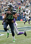 Seattle Seahawks wide receiver Golden Tate hauls in a six-yard touchdown pass from quarterback Russell Wilson in front of Minnesota Vikings cornerback A.J. Jefferson at CenturyLink Field in Seattle, Washington on  November 4, 2012.    The Seahawks beat the Vikings 30-20.     UPI/Jim Bryant