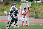 Palos Verdes, CA 04/20/10 - Grant Cigliano (Palos Verdes #5), Tom Farrell (Mira Costa #18) and Tommy O'Hern (Palos Verdes #9) in action during the Mira Costa-Palos Verdes boys lacrosse game.