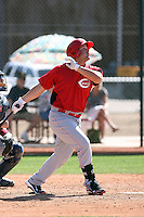 Yonder Alonso of the Cincinnati Reds hits a homerun in a minor league spring training game against the Cleveland Indians at the Indians complex on March 26, 2011 in Goodyear, Arizona. .Photo by:  Bill Mitchell/Four Seam Images.
