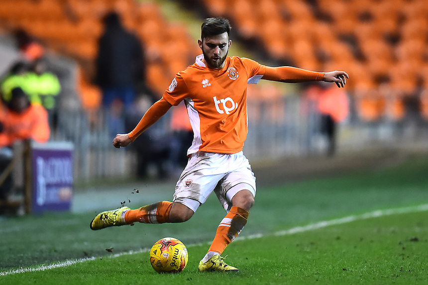 Blackpool's Jack Payne in action<br /> <br /> Photographer Richard Martin-Roberts/CameraSport<br /> <br /> The EFL Sky Bet League Two - Blackpool v Crawley Town - Tuesday 7th February 2017 - Bloomfield Road - Blackpool<br /> <br /> World Copyright &copy; 2017 CameraSport. All rights reserved. 43 Linden Ave. Countesthorpe. Leicester. England. LE8 5PG - Tel: +44 (0) 116 277 4147 - admin@camerasport.com - www.camerasport.com