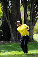 Yuan Yechun (China) plays an approach shot to the 5th on day one of the 2017 Asia-Pacific Amateur Championship day one at Royal Wellington Golf Club in Wellington, New Zealand on Thursday, 26 October 2017. Photo: Dave Lintott / lintottphoto.co.nz