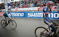 Sanne Cant (BEL/BKCP-Powerplus) loses the finish sprint (and the World Champion Title) to Pauline Ferrand-Prevot (FRA/Rabobank-Liv)<br /> <br /> Elite Women's Race<br /> <br /> 2015 UCI World Championships Cyclocross <br /> Tabor, Czech Republic