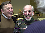 Bob Keene and Stan Wolson at champagne get together of Newsday staff in the City room to toast the departure of colleagues on Friday March 1, 2002. (Photo by Jim Peppler).