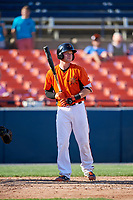 Frederick Keys catcher Stuart Levy (18) at bat during the first game of a doubleheader against the Lynchburg Hillcats on June 12, 2018 at Nymeo Field at Harry Grove Stadium in Frederick, Maryland.  Frederick defeated Lynchburg 2-1.  (Mike Janes/Four Seam Images)