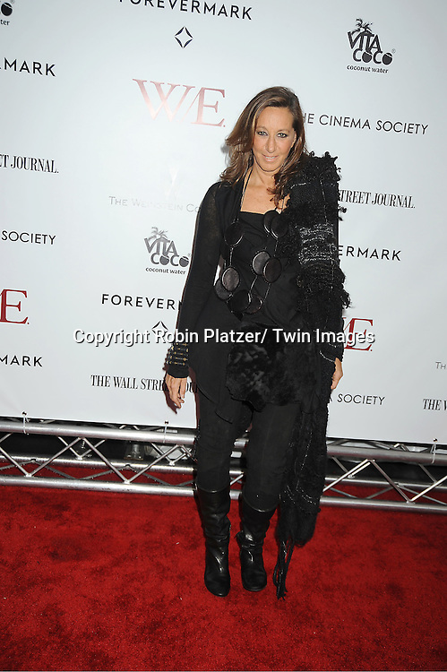 """Donna Karan arrives for the New York Premiere of """"W.E."""" on .January 23, 2012 at The Ziegfeld Theatre in New York City. Madonna directed the movie. The sponsors of the premiere are The Weinstein Company, The Cinema Society and Forevermark."""