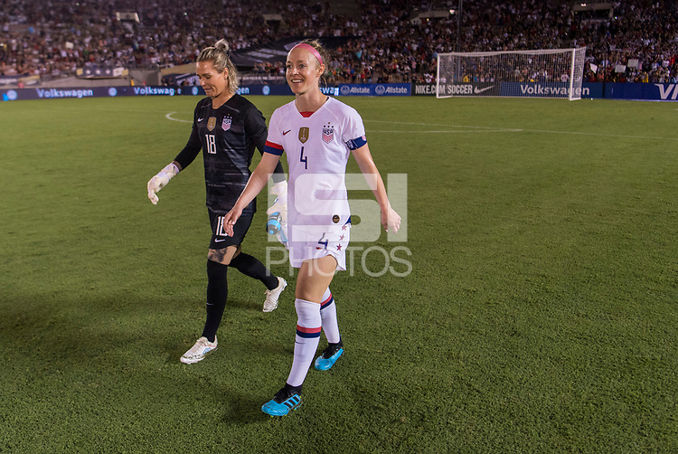PASADENA, CA - AUGUST 4: Becky Sauerbrunn #4 and Ashlyn Harris #18 walk off the field during a game between Ireland and USWNT at Rose Bowl on August 3, 2019 in Pasadena, California.