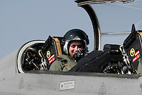 Head of the airline Norwegian, Bjørn Kjos,  arrives as passenger on the Swedish fighter jet JAS Gripen.  The announcement that the airline has chosen to fly from Rygge Airport was made as a large airshow was being prepared for the weekend. The Gripen is one of the aircraft being considered to replace Norway's ageing F-16 Fighters. Norway Bjørn Kjoos
