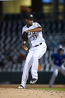 Charlotte Knights relief pitcher Juan Minaya (31) in action against the Durham Bulls at BB&T BallPark on July 31, 2019 in Charlotte, North Carolina. The Knights defeated the Bulls 9-6. (Brian Westerholt/Four Seam Images)