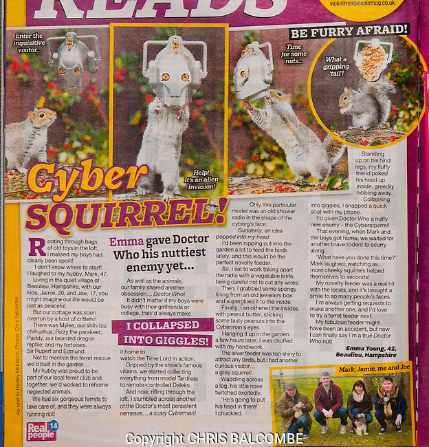 The Cyber Squirrel, which did so well in the UK national press, online and on YouTube, also saw Doctor Who fan Emma landing a women's magazine feature in Real People magazine.<br /> This is it!<br /> <br /> Squirrel pics by Chris Balcombe<br /> <br /> 07568 098176